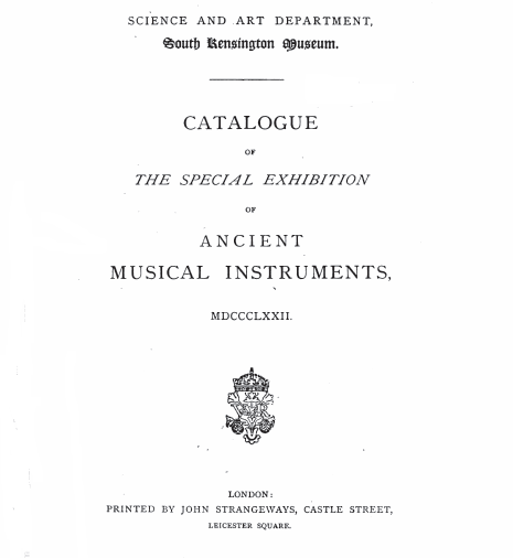 Catalog Kensington Museum Exhibition 1872