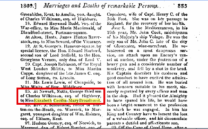 Announcement of George Wilkinson and Elizabeth Broadhurst in The Gentleman's Magazine of 1809