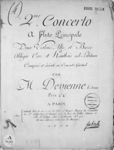 François Devienne - Title page of the 2. Flute Concerto - published by Jean-Jérôme Imbault in 1783