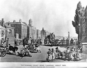 Tottenham Court Road c. 1800 - Engraving after Rowlandson